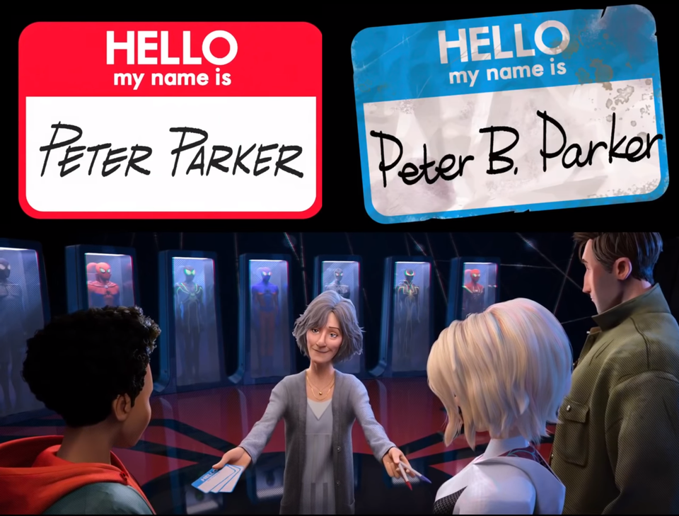 In SpiderMan Into the SpiderVerse, the name tags used