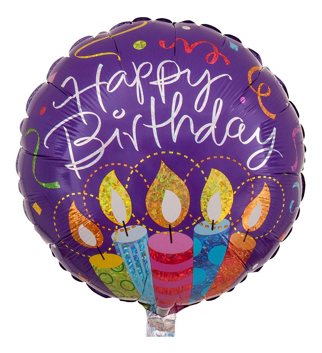 """Süßer Geburtstagsballon, der durch die Aufschrift """"Happy Birthday"""" und das Motiv angezündeter Geburtstagskerzen besticht."""