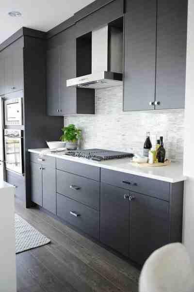 Shaker Style Kitchen Cabinet Painted In Benjamin Moore 1475 Graystone Modern Grey Kitchen Modern Kitchen Kitchen Cabinet Design