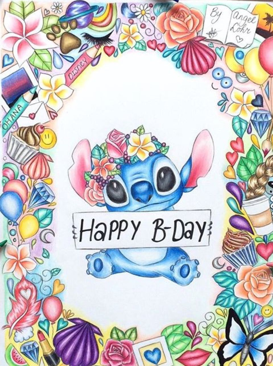 happy birthday stitch Disney Stitch artwork | Disney | Disney, Disney drawings, Stitch happy birthday stitch