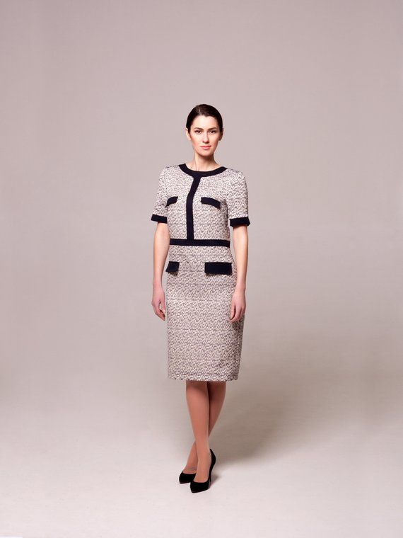 443697e5506 Elegant Tweed Dress by TAVROVSKA