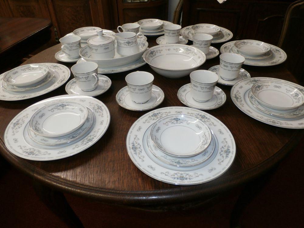 46 Piece Set Of Fine Porcelain China Of Japan Diane W Blue Flowers 403 Retail China Porcelain Fine Porcelain Porcelain