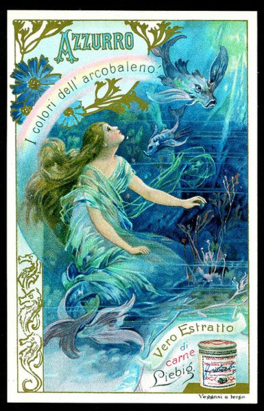 Liebig - Colours of the Rainbow, Blue  Italian edition, 1901.  via  cigcardpix