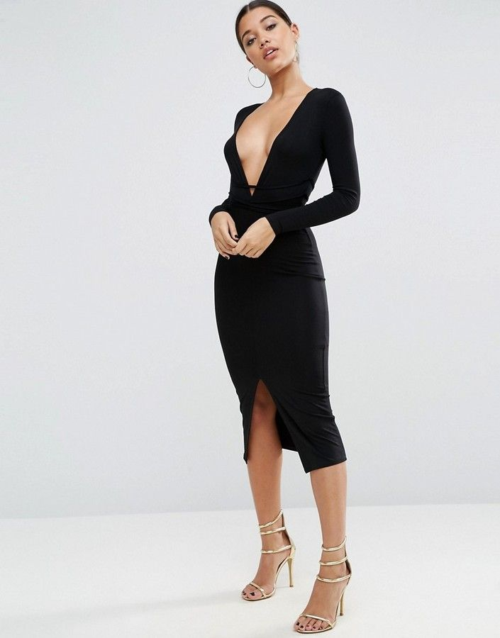 Asos Deep Plunge Wrap Ties Midi Dress Plunge Dress Long Sleeve Plunge Dress Plunge Bodycon Dress