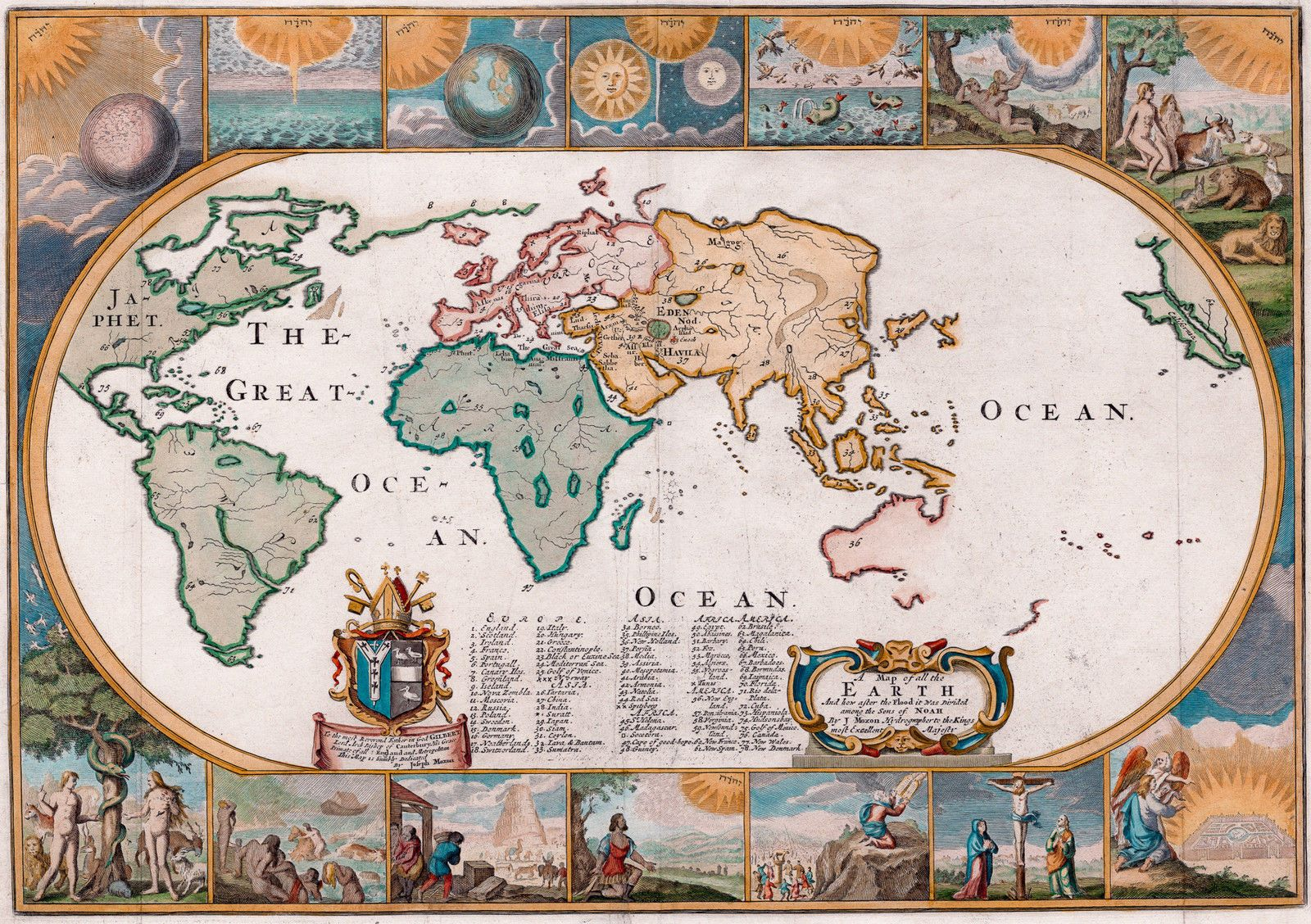 Antique World Map Old Vintage Map 1681 Fade Resistant Hd Art Print Or Canvas Antique World Map Tower Of Babel Days Of Creation