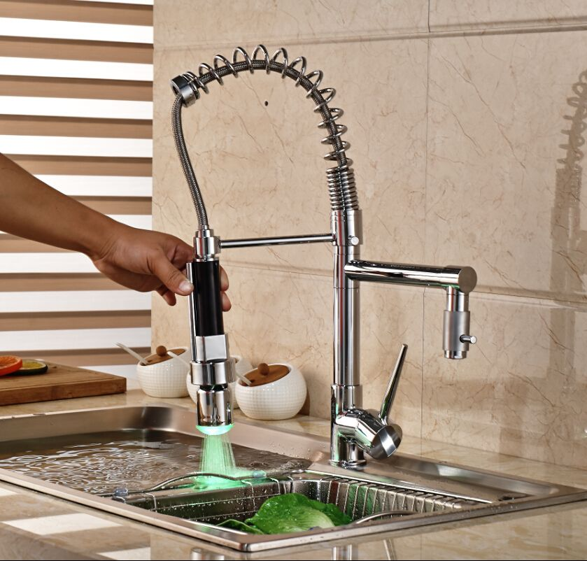 Taps Kitchen Sinks Modern dual sprayer spout kitchen sink mixer faucet single handle modern dual sprayer spout kitchen sink mixer faucet single handle led light pull down water taps workwithnaturefo