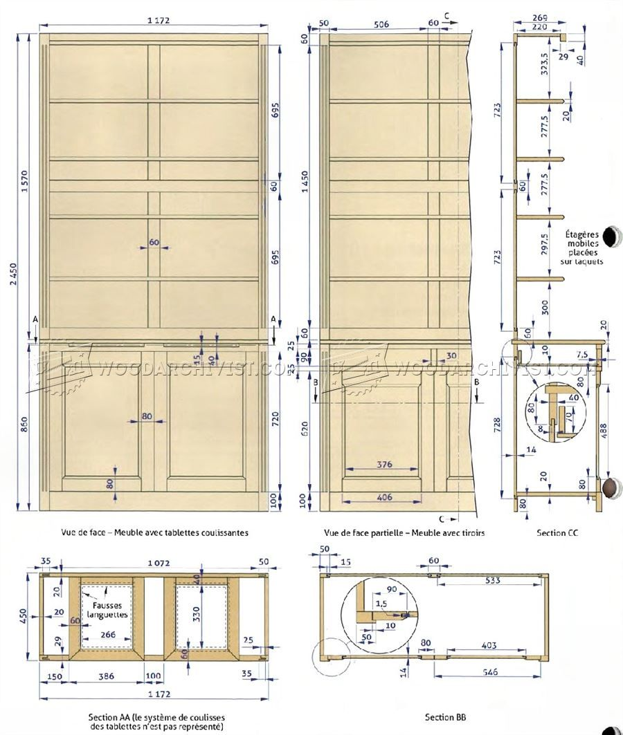 Built-In Bookcase Plans - Furniture Plans