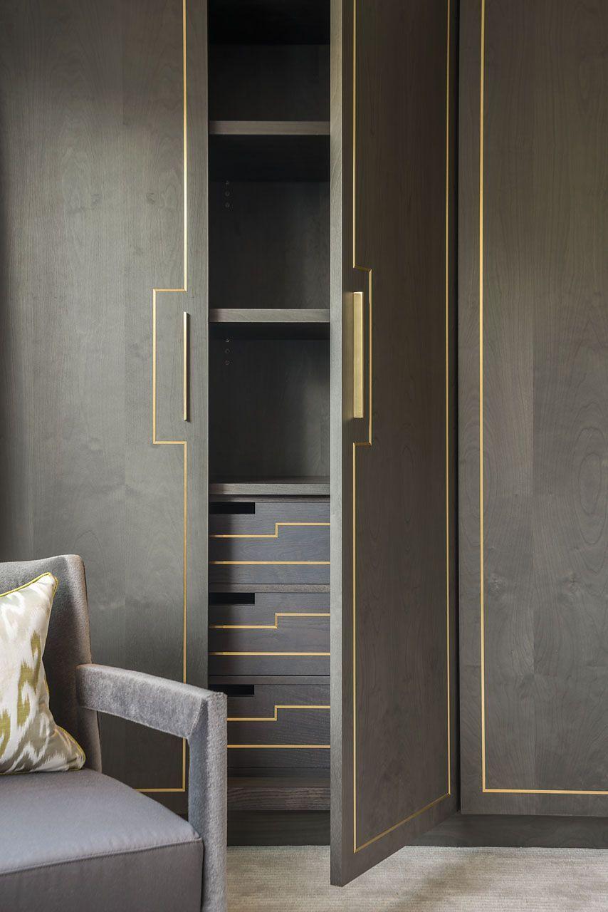 If You Do Enclosed Doors Add A Metallic Liner Detail As Shown Here Leather Finish On The Doors A Wardrobe Door Designs Wardrobe Design Bedroom Wardrobe Doors