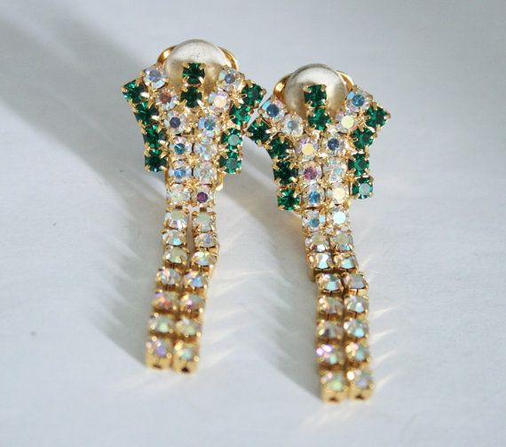 Vintage rhinestone crystal earrings.  Green by chicvintageboutique, $20.00