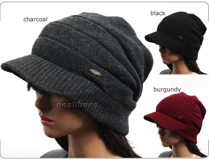 BRIM BEANIE VISOR chic unisex Cap men women new black hats knit ... b20c2bacd