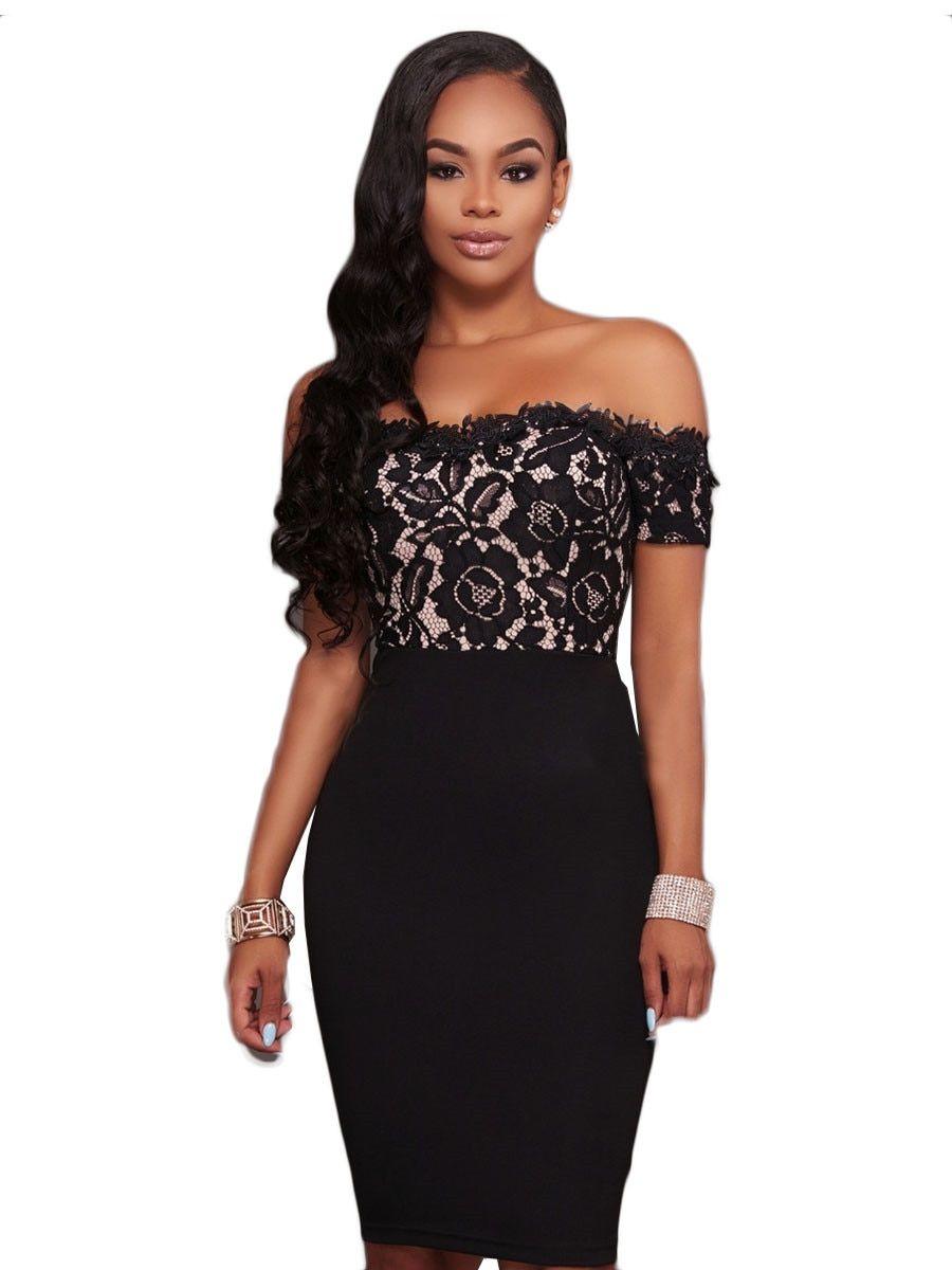 Buy Women s Pencil Dress Fashion Lace Off Shoulder Midi Dress   Regular  Dresses - at Jolly Chic 2f95ec954