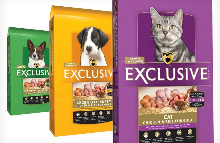 Exclusive Cat, Large Breed Puppy and Reduced Fat Adult Dog food