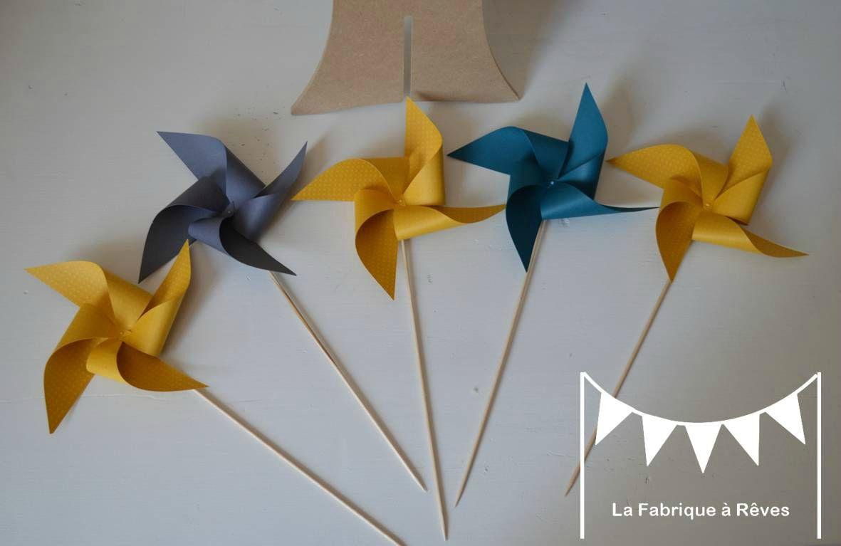 Moulins vent gris bleu canard jaune d coration naissance baby shower bapt me mariage for Chambre bebe gris bleu jaune