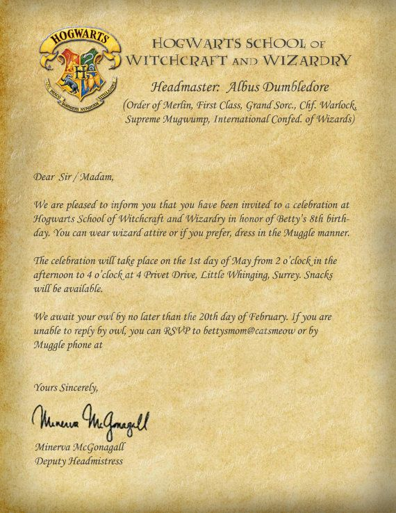 Harry Potter Hogwarts Printable Birthday by CatsMeowDDesigns - celebration letter
