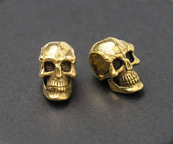 3D Skull Beads, Gold Skull Beads, Spooky Beads, Vertical Hole, Antique Gold, Made in the USA, 8x6mm, 2Pc by TreeTerracom on Etsy https://www.etsy.com/listing/515533386/3d-skull-beads-gold-skull-beads-spooky