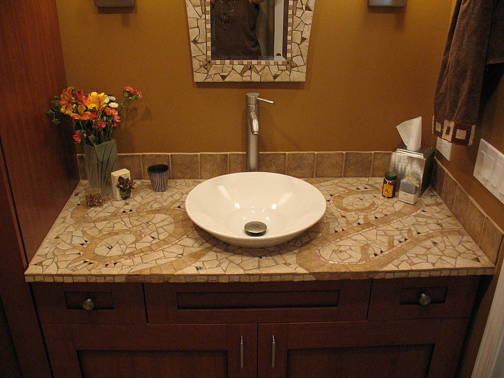 Image Detail For Mosaic Bathroom Mirror And Countertop