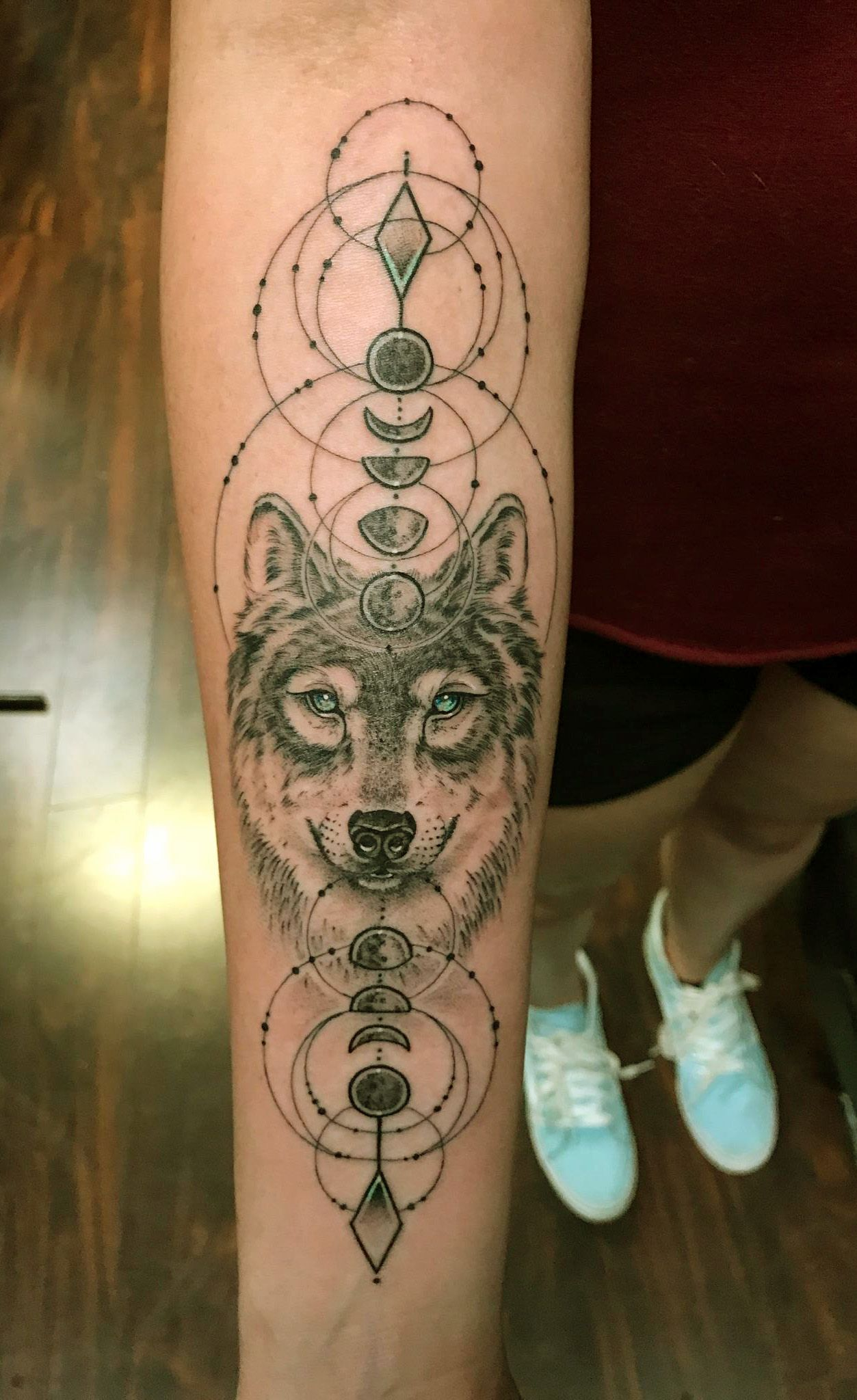 Wolf Tattoo Done By Daniel Silva At The Rock Zone In Gilroy Ca Mystical Tattoos Tattoos Wolf Tattoo