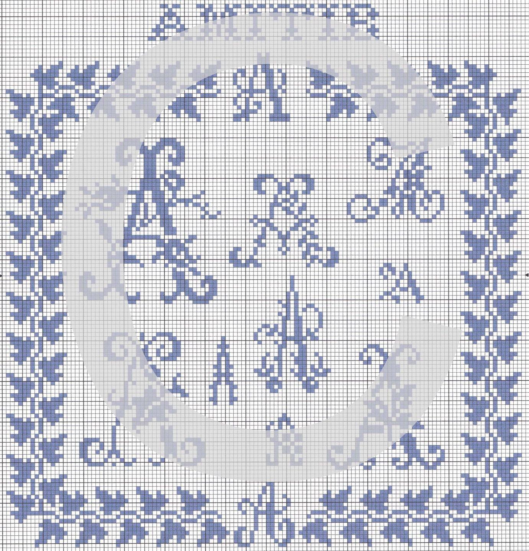 lettre A au point de croix à télécharger : Broderie par ...
