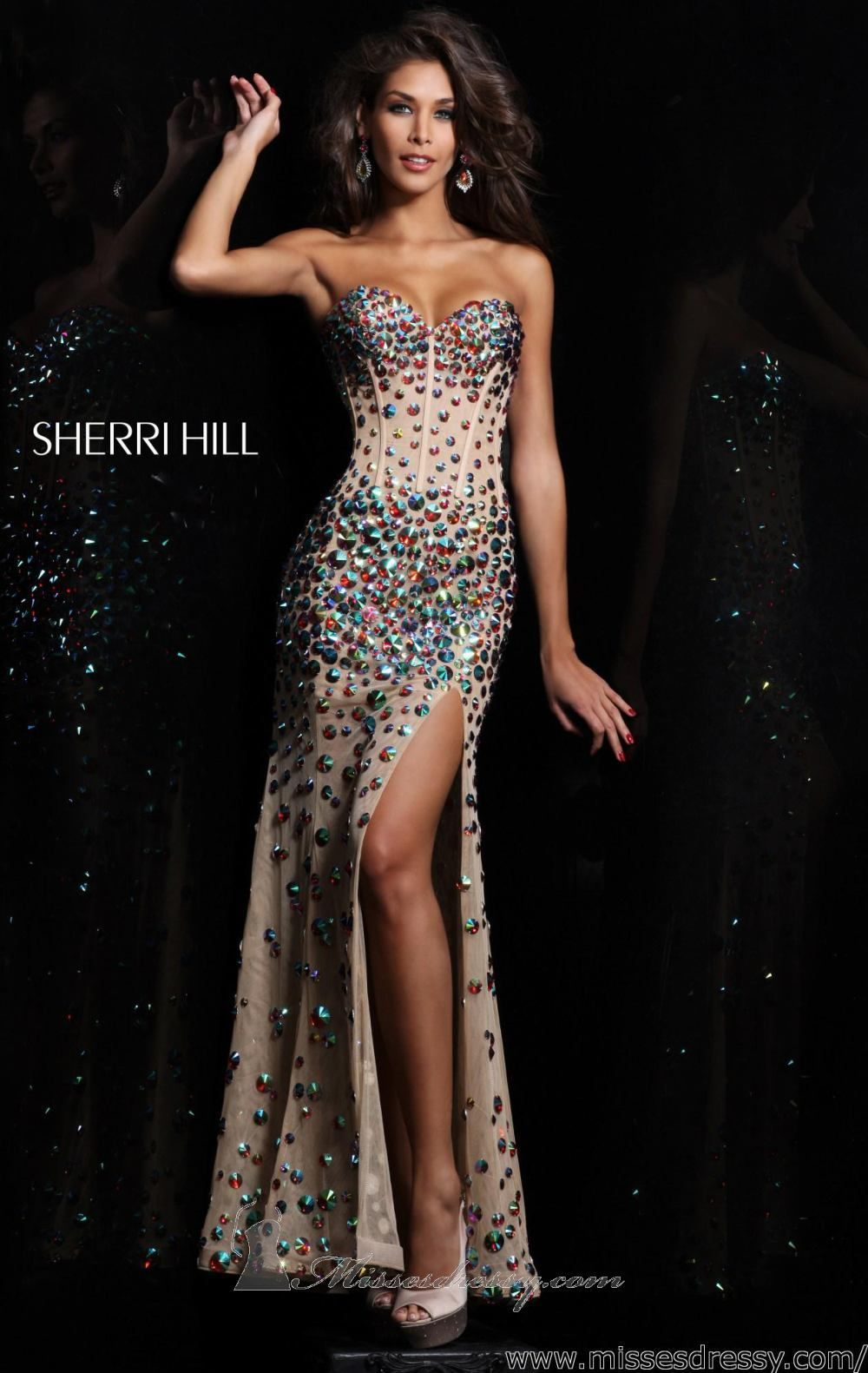 Strapless long dress by sherri hill sparkle u glamorous