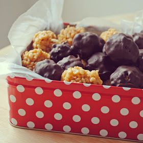 Who has time to make the balls. Not this girl. I will try this but it will be squares.  I may try a chocolate drizzle.