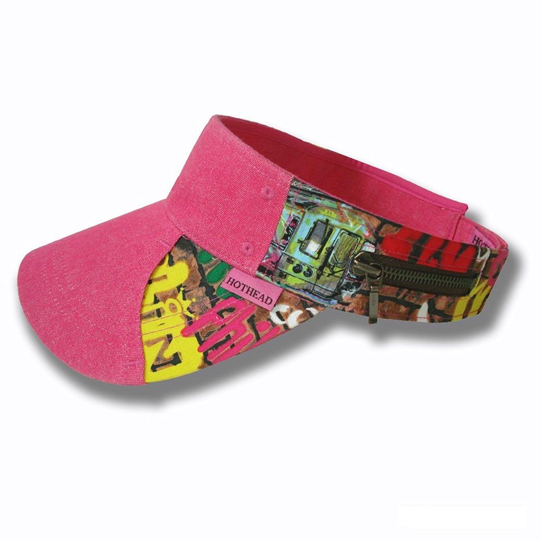 Hothead Wide Brim Sun Visor Hat in Graffiti with Pink Denim - CI11KF447AV   Hats   5f28fe79bd5b