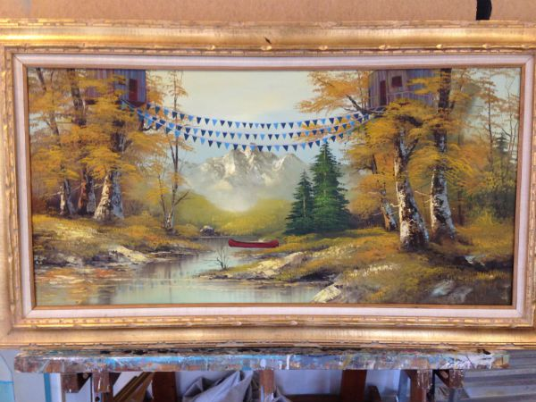 How To Make Over A 2 Thrift Store Painting Thrift Store Art Diy Art Projects Thrift Store Furniture