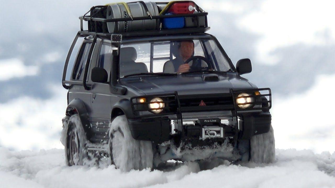 tamiya cc-01 mitsubishi pajero on a winter day in the mountains