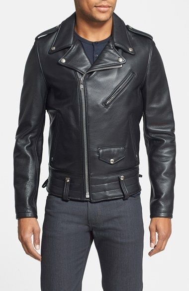 4d63222f42d Schott NYC  Chips  Slim Fit Moto Leather Jacket available at  Nordstrom