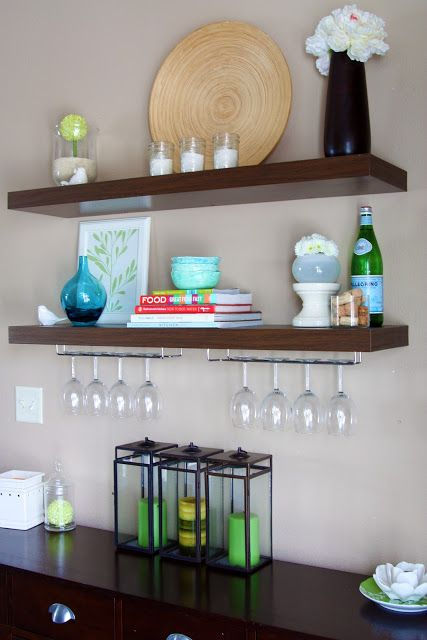 Looks Like Ikea Side Table Below With Pulls Added Floating Shelf Above For Wine Gles How Will Family Pics Fit In