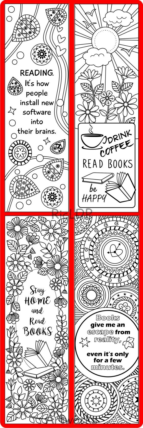 Watercolor bookmark patterns - Printable 8 Coloring Bookmarks Four 4 With Quotes And Four 4 Abstract Pattern Designs Bookmark Templates