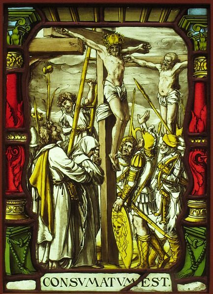 The Crucifixion, painted glass, by unknown artist, after a design by Hans Holbein the Younger, 16th century, San Diego Museum of Art  Date	16th century
