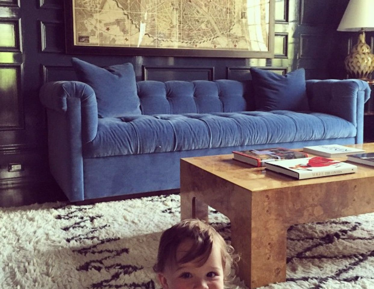 Hickory Chair Blue Velvet Sofa By Anna Burke Interiors With A Burl Wood Coffee Table Burled Wood Blue Velvet Sofa Wood Sofa