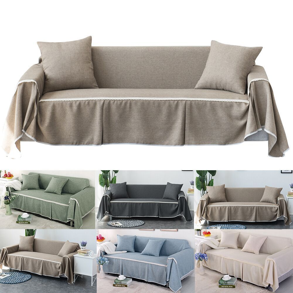 Cotton Blend Slipcover Chair Sofa Cover Protector For 1 2 3 4 Seater Couch Cover Unbranded Plain Slipcovers For Chairs Washable Sofa Cushions On Sofa