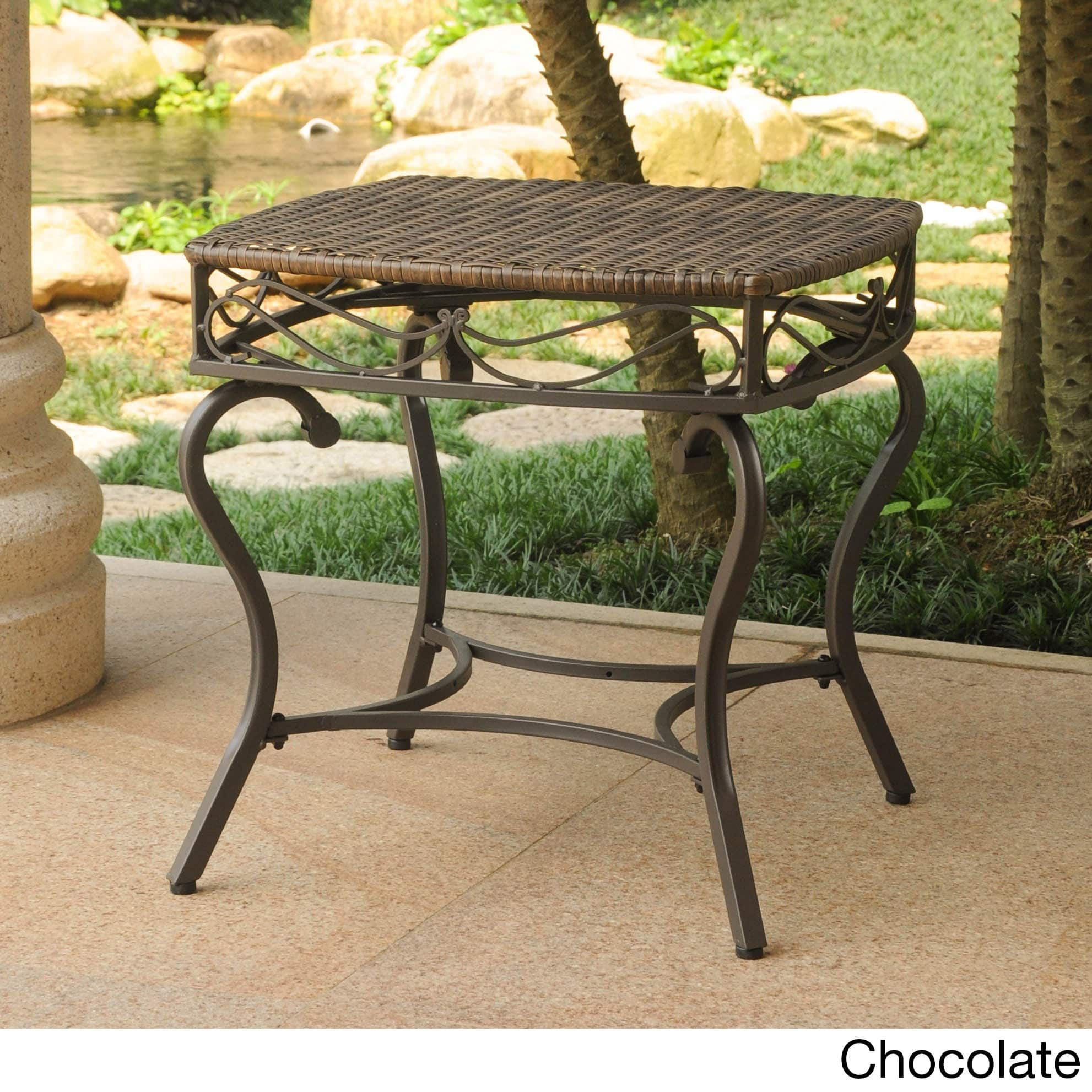 International caravan valencia resin wicker outdoor side table