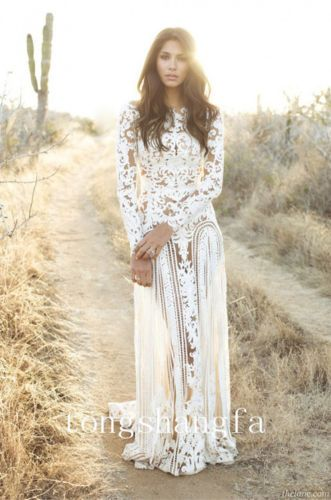 64e590d4515f Zuhair-Murad-Hollow-Lace-Long-Sleeve-Beach-Dress-Summer- ebay ...