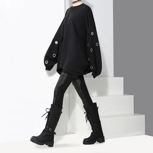 Photo of Kawaii Clothing Metal Rings Sweatshirt Hollow Black Punk Oversize W301