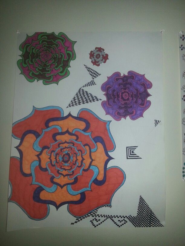 Graphic flowers. Unfinished.