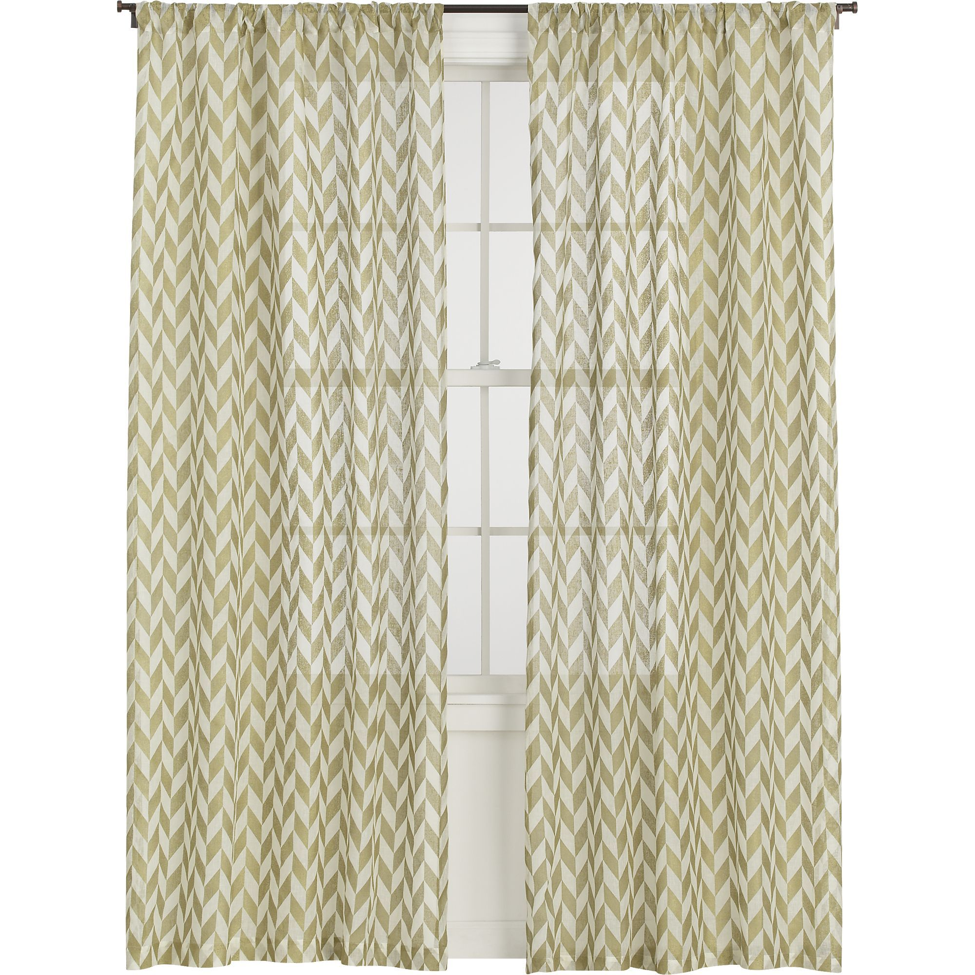 Herringbone Gold Sheer Curtain Panels in Curtains | Crate and Barrel,  metallic gold for the