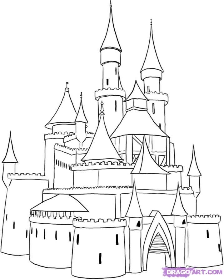 Simple Castle Coloring Pages Link No Good Castle Drawing