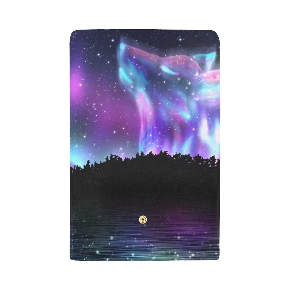 Custom Wallet Howling Wolf Spirit And Aurora Borealis Trifold Wallet Long Clutch Purse Great Gift For Girl Women