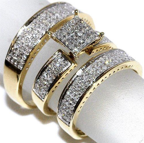 1ct Diamond Yellow Gold Trio Wedding Set Princess Cut Style Pave His And Her