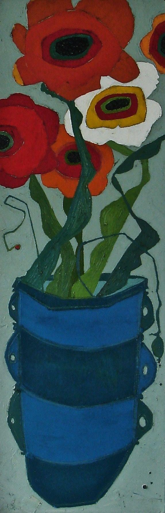 "Poppies for the Table by Karen Tusinski, 36x12"", oil"