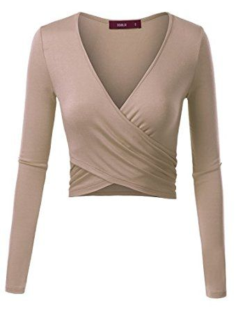 0d92849a9b76c Doublju Women Longsleeve Deep V Neck Unique Wrap Crop Top at Amazon Women s  Clothing store