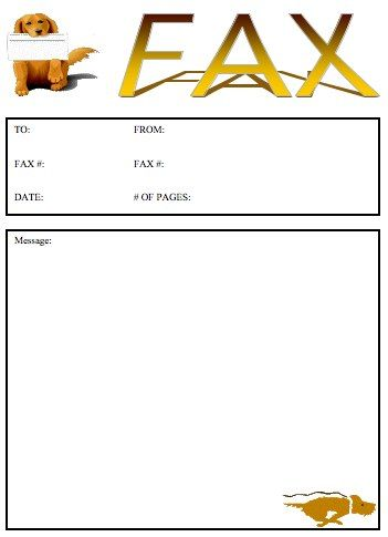 A happy golden retriever holds a fax in his mouth on this - fax word template