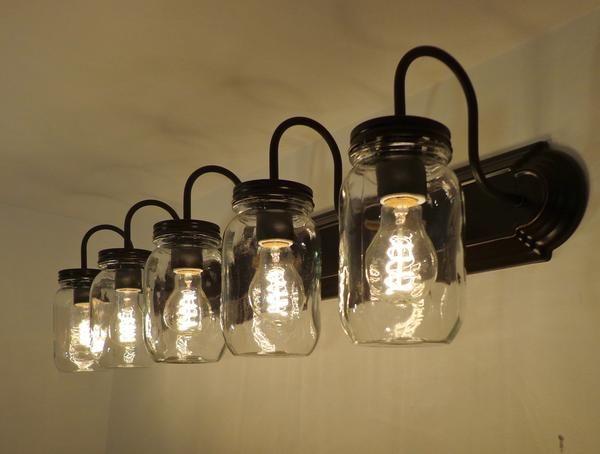 Mason Jar Bathroom Vanity 5 Light Wall Sconce Fixture Mason Jar