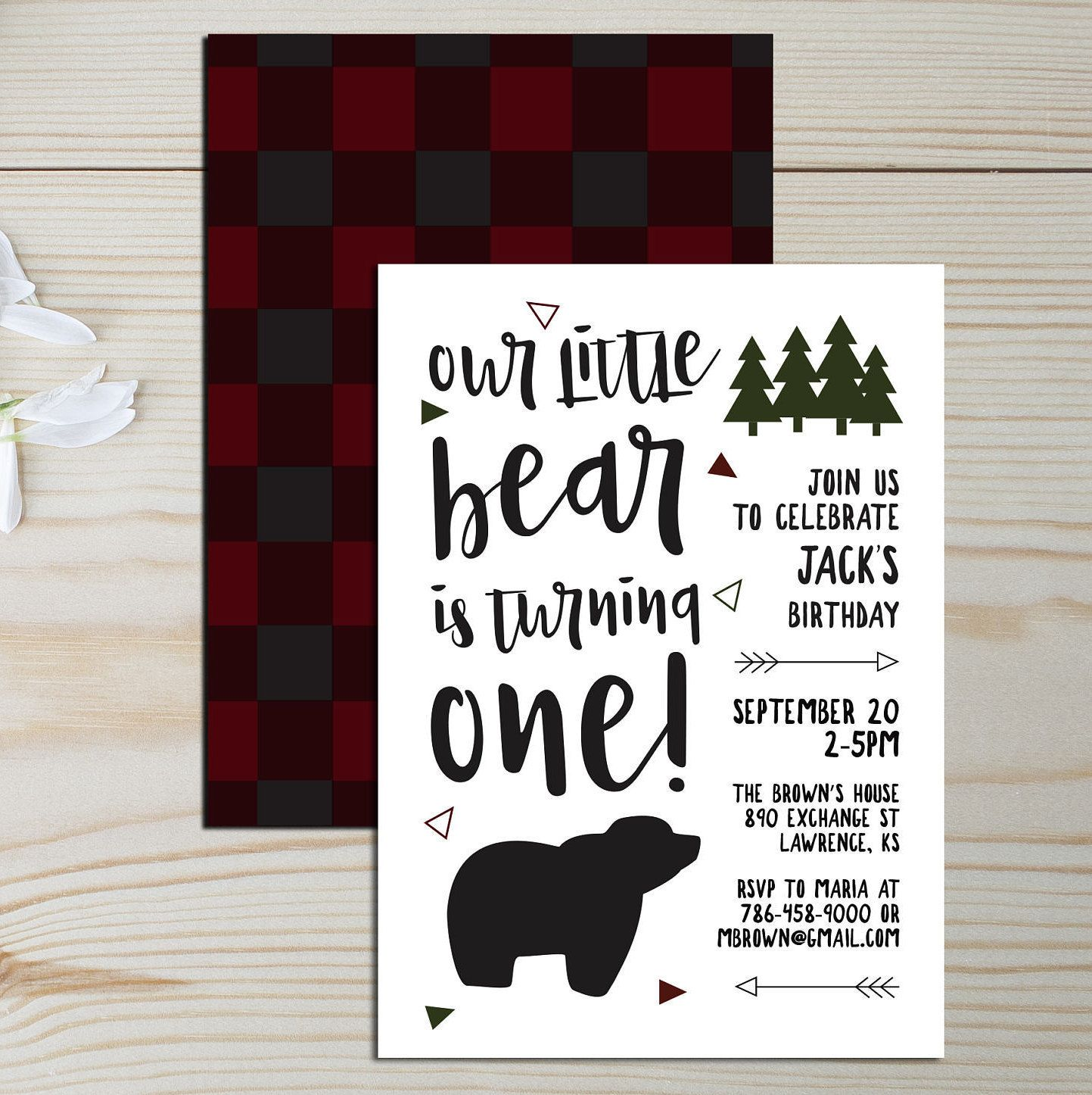 Items similar to Little Bear First Birthday Invitation/One Lumberjack/Fall Invites/Camping/Winter/Baby Boy Bear/1st/Printable/Rustic/Black/Red/Woodland on Etsy