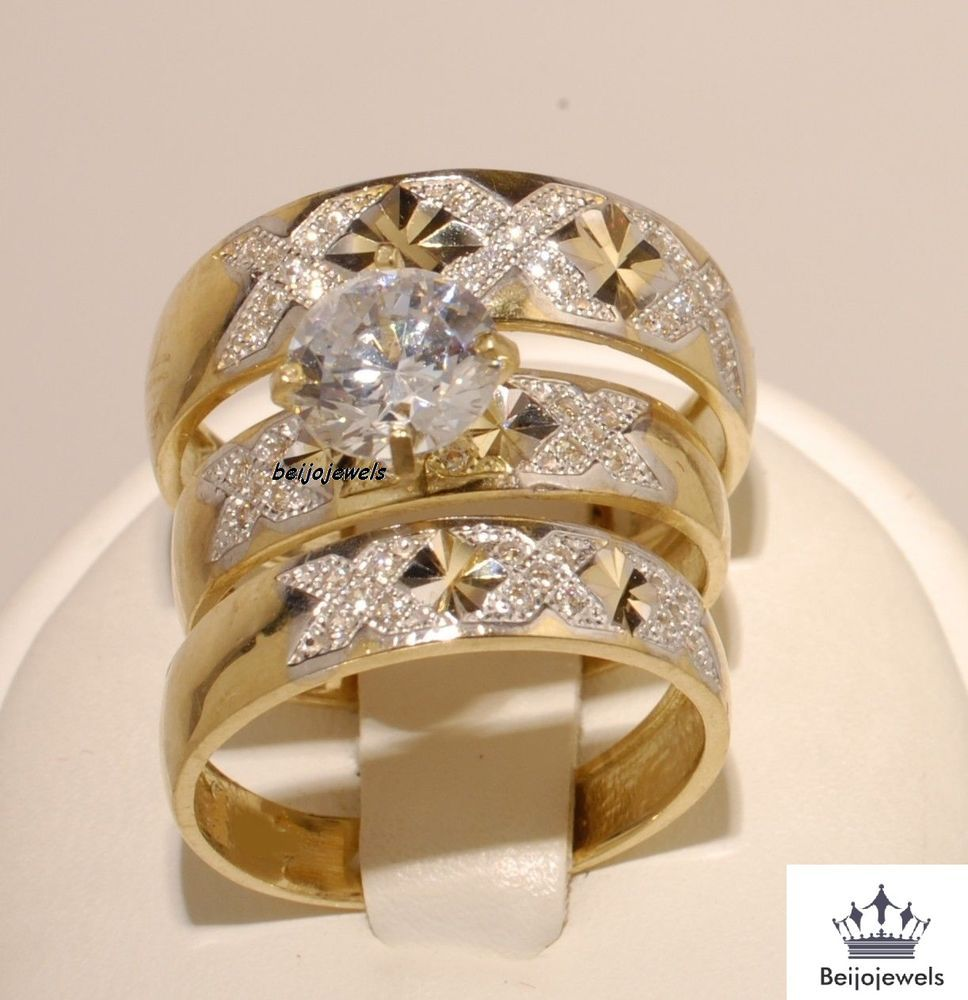 14k yellow gold his and her diamond engagement bridal