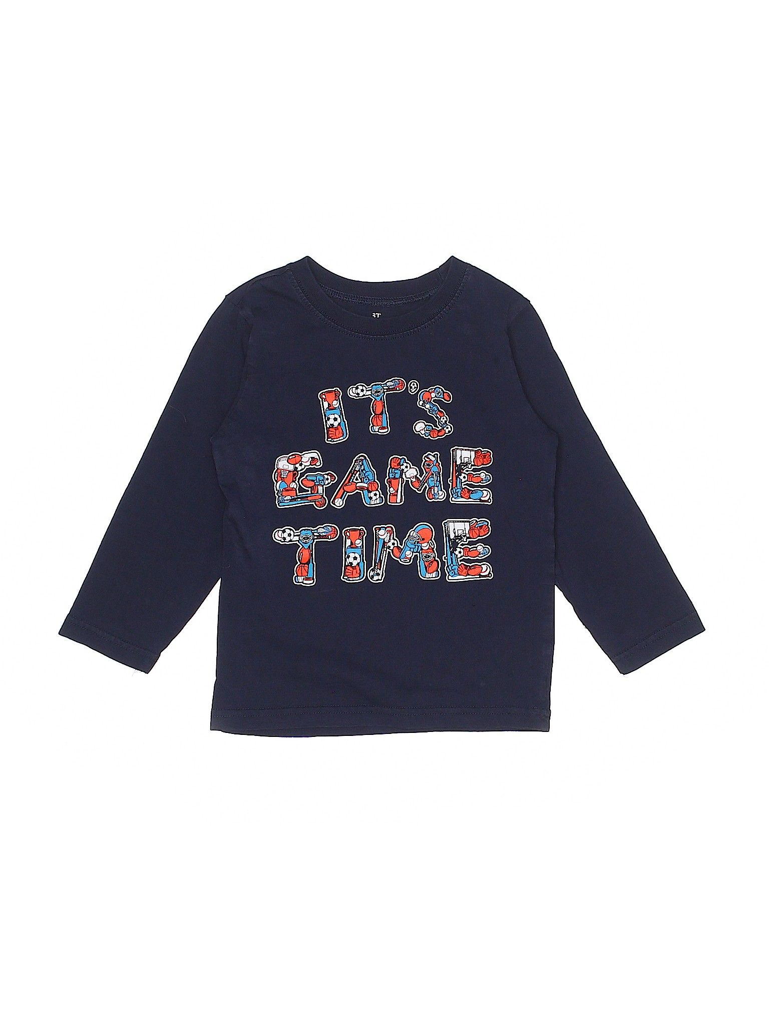 The Children S Place Long Sleeve T Shirt Blue Graphic Crew Neck Boy S Tops Size 3toddler Second Hand Clothes Boys Top Clothes