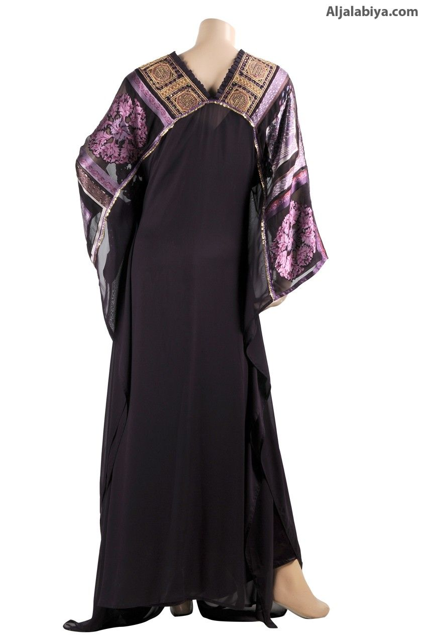 Purple Radiance butterfly jalabiya with brasso and embroidery (WN-814) $159.00