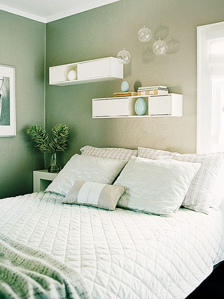 A Calming Sea Green Paint Color And Plenty Of White Makes This Small California Bedroom